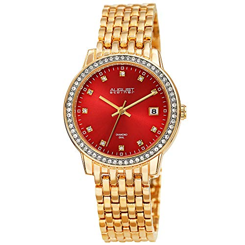August Steiner China Crystal Accented Women's Watch – Gold Tone Designer Stainless Steel Bracelet Strap – Red Sunray Dial, Diamond Markers - AS8262RD