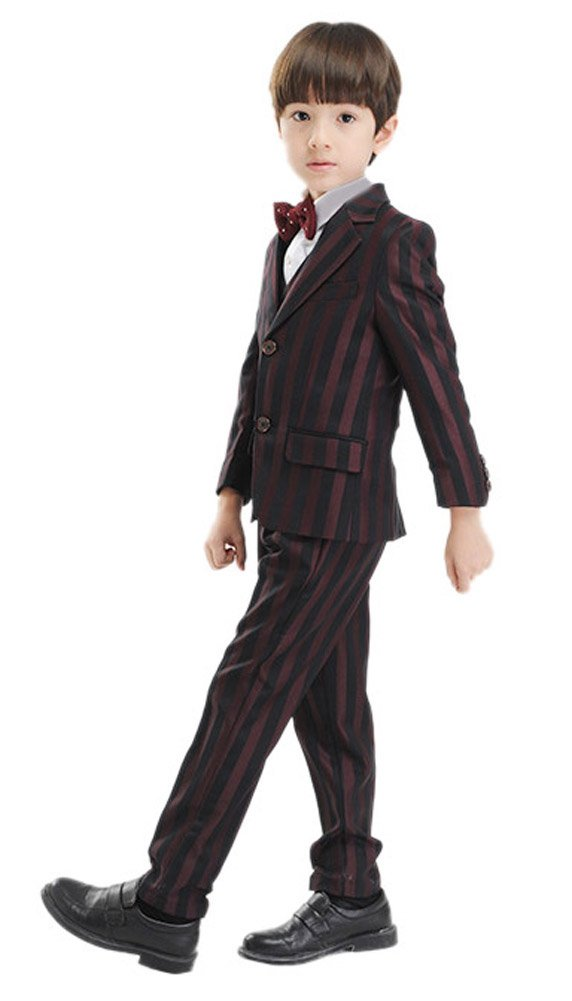 Oncefirst boys' Striped Casual 5-piece Formal Wedding Suits Red