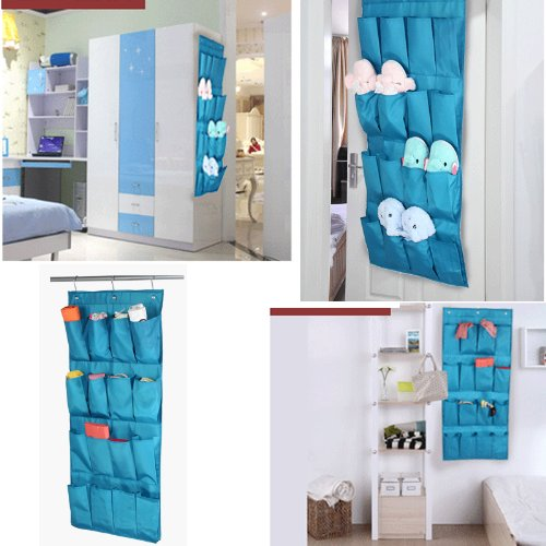 Home-Cube® 16 Pocket Hanging Door Holder Storage Organizer Closet Shoe Hanger Organiser Box (black)