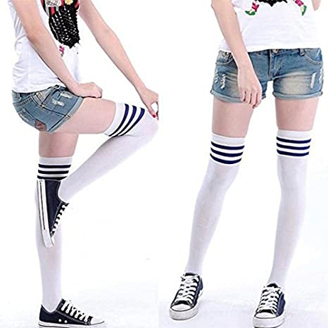 Demarkt Calcetines Japoneses de Tubo alto Sobre Medias Hasta la Rodilla Calcetines a Rayas Blancos y Negros de Uniforme para Hombres y Mujeres: Amazon.es: ...