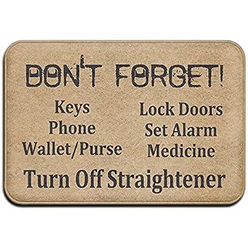 NewOxygen Don't Forget Keys Phone Wallet Purse Funny Entrance Floor Mat Rug Indoor/Kitchen/Front Door/Bathroom Mats Non-slip Rubber Personalized 23.6(L) X 15.7(W) inch