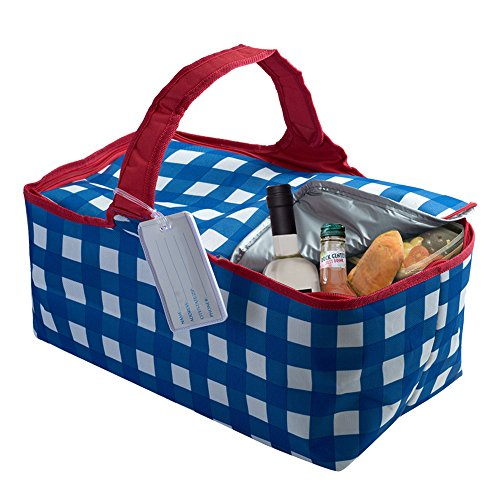 Large Insulated Zippered Picnic Tote Bag with ID Tag, Foldable Blue/White/Red Gingham Style Rectangular Outdoor Duffle Travel Bag