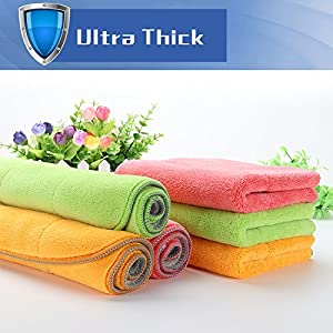 Ultra-Thick Microfiber Cleaning Cloths, Super Absorbent Dust Cloths Dish Cloths with Two Color on Two Side by House Again, Lint Free Streak Free for Tackling Any Cleaning Job with Ease, 6-Pack