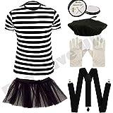 Childrens Kids Mime Artist French T Shirt, Beret Hat, White Paint, Braces, Tutu Skirt & Gloves Fancy Dress Costume (10-12 years)
