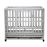 LUCKUP Heavy Duty Dog Cage Strong Metal Kennel and Crate for Medium and Large Dogs, Pet Playpen with Four Wheels,Easy to Install,38 inch,Silver ...