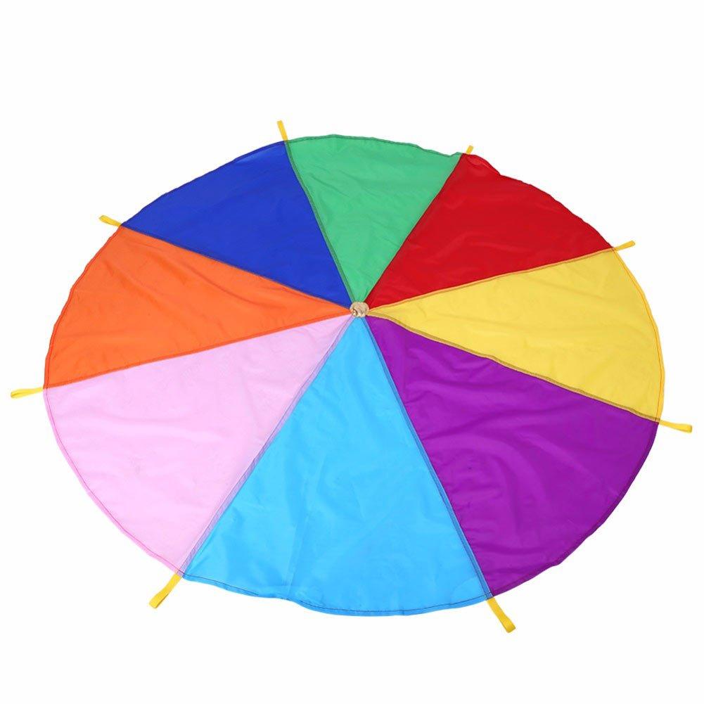 Automarketbiz Children Play Rainbow Umbrella Parachute Toy Outdoor Play Parachute Teamwork Game Jump-Sack Ballut Development Toy 8 Bracelet