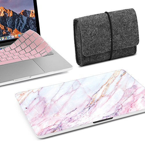 GMYLE 3 in 1 MacBook New Pro Touch Bar 13 Inch A1989/A1706/A1708 (2016,2017,2018 Release) Bundle, Hard Plastic Matte Case, Felt Storage Organizer Pouch Bag with Keyboard Cover - Pink Marble Set