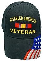 Disabled American Veteran BLACK Baseball Cap Military DAV Hat American Flag