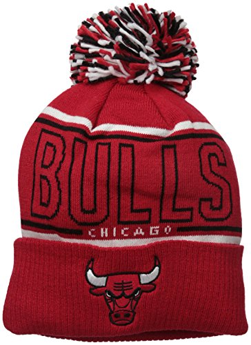 NBA Chicago Bulls Men's Energy Stripe Cuffed Knit Pom, One Size, Red (Sport Cuffed Knit)