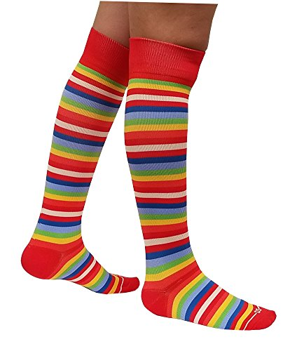 15mm Compression Sock (Compression Socks Stocking ( 1 pair ) 15-20 mm Hg for Women & Men (9-11, Rainbow Stripes))