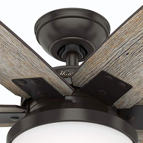 Hunter Fan 64 inch Casual Nobel Bronze Indoor Ceiling Fan with Light Kit and Remote Control Renewed