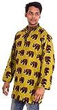 Indian 100% Cotton Men's 5 Pcs Lot Elephant Print Shirt Kurta Plus Size loose fit Greene sh Yellow Color