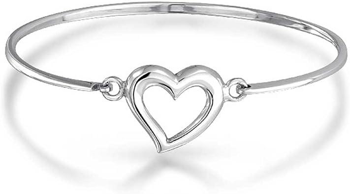 Heart Jewelry Simple Sterling Bracelet Sterling Heart Bracelet 950 Sterling Silver Heart Charm Bangle Bracelet Thin Sterling Bangle