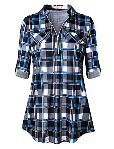 Tanst Zip Up Blouse Womens Plaid Long Sleeve Shirts Notch V Neck 3/4 Roll Tab Sleeve Trendy Loose Fitting Vibrant Casual Gingham Tunic with Fake Pocket Youth Novelty Loft Clothes Blue M