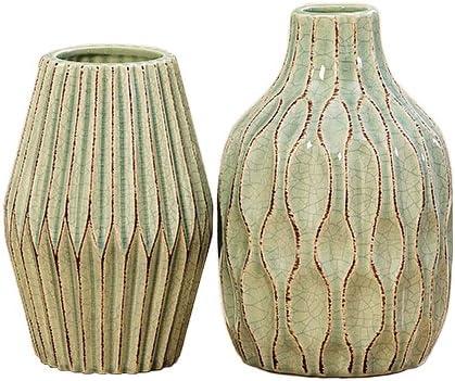 Home Collection Muebles, decoración - conjunto de 2 floreros, adorno - Estilo: Moderno - Material: gres porcelánico - Color verde claro - H 18/21 cm