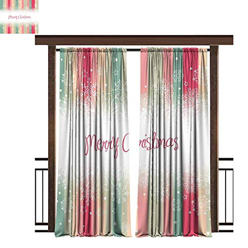 New Year Indoor/Outdoor Top Curtain Panels Colorful Vertical Stripes with Merry Christmas Quote Winter Season Theme Snowflake for Bedroom Bathroom Multicolor 84x96 inch (Quotes Christmas For Soldiers Merry)