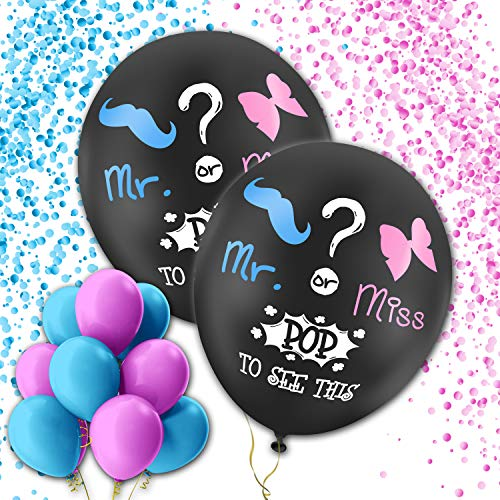 Gender Reveal Balloon Confetti Decoration - 2 Pack XL 36inch Balloons - Baby Shower and Gender Reveal Party Supplies - Pink and Blue Confetti - 10 Blue and 10 Pink 12inch Balloons -