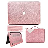 MacBook Air 13 inch Case, Anban Glitter Bling Smooth Protective Case & Glitter Laptop Sleeve & Keyboard Cover Compatible for MacBook Air 13'' (A1369 & A1466)