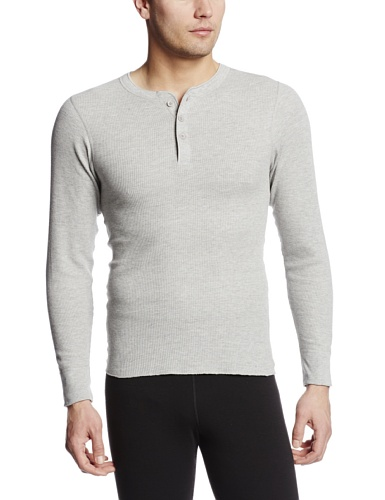 hermal Longsleeve Henley Top, Heather Grey, X-Large ()