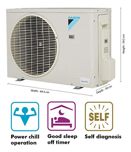 Daikin 1.5 Ton 3 Star Split AC (ATL50TV, White) 2021 August Split AC with non-inverter compressor: Low noise. Affordable compared to inverter split ACs Capacity: 1.5 Ton. Suitable for medium sized rooms (111 to 150 sq ft) Energy Rating: 3 Star. Annual Energy Consumption: 1103 units. ISEER Value: 3.65 (Please refer energy label on product page or contact brand for more details)