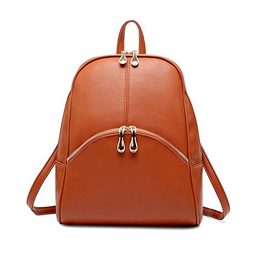 Nostalgico Unisex Bag PU Leather Classical College Backpage Shoulder Bag Brown