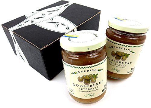 Hafi Gooseberry Preserves, 14.1 oz Jars in a BlackTie Box (2 Items Total)