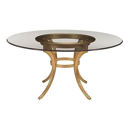 Ethan Allen Boscobel Round Glass Dining Table, 48u0026quot; Diameter, Bullion