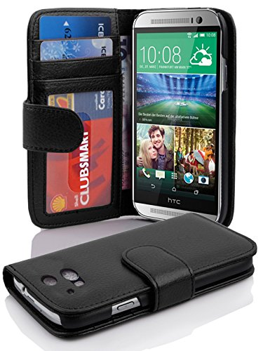 Cadorabo Book Case Works with HTC ONE M8 (2. Gen.) in Midnight Black - with Magnetic Closure and 3 Card Slots - Wallet Etui Cover Pouch PU Leather Flip