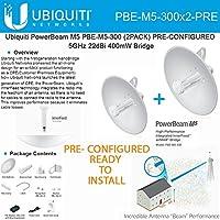 Ubiquiti PowerBeam M5 PBE-M5-300 2PACK PRE-CONFIGURED 5GHz 22dBi 400mW Bridge