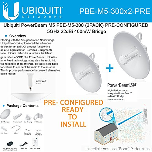 Ubiquiti PowerBeam M5 PBE-M5-300 2PACK PRE-CONFIGURED 5GHz 22dBi 400mW Bridge by Ubiquiti Networks