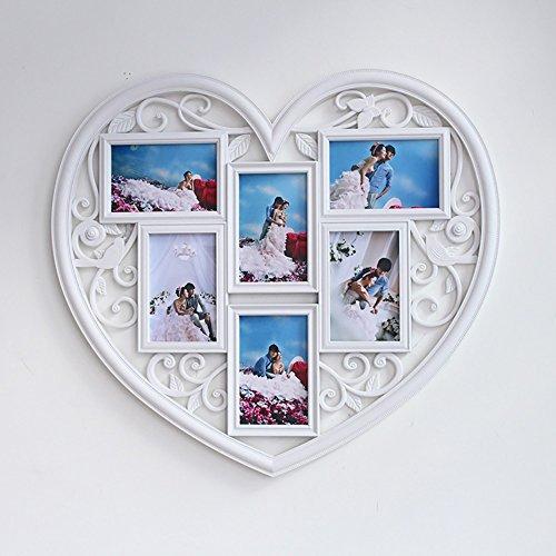 Heart-shaped multi-frame 6 polygons carved decorative wall photos Siamese photo wall plastic 58 53 cm by Yo-Yo2015