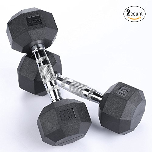 ZELUS 10lb Heavy Rubber Dumbbells Hand Weights with Metal Handles, 8-sided Octagonal Designed (10-Pound - Metal Weight