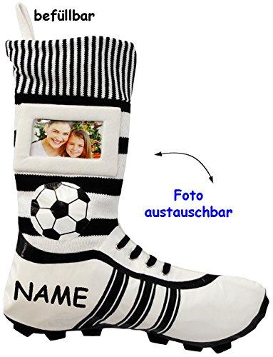 "1 Stück _ XL Fußball _Filzstrumpf - "" Fußballschuhe - BLAU / SCHWARZ - mit austauschbaren Foto "" - incl. Name - 45 cm - Bilderrahmen / Sportverein - Fotosocke - Deko - Stollenschuhe auch als Nikolauss"