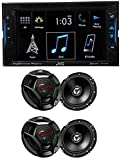 JVC KW-V130BT 6. 2' DVD Player Receiver+Bluetooth iPhone/Android+4) 6. 5' Speakers