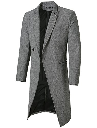 uxcell Men Notched Lapel Slim Fit Single Breasted Business Top Coat Overcoat Gray L US 42