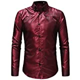 OWMEOT Mens Classic Slim Fit Contrast Inner Long Sleeve Dress Shirts (Red, L)