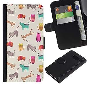Paccase / Billetera de Cuero Caso del tirón Titular de la tarjeta Carcasa Funda para - Pattern Teal Kitten Drawing Beige - Samsung Galaxy S6 SM-G920