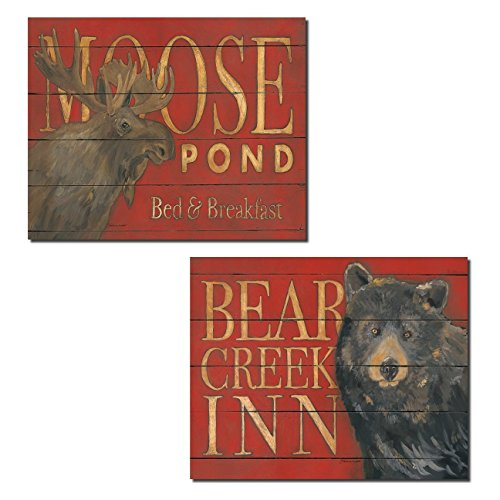 rustic-moose-pond-and-bear-creek-inn-cabin-lodge-decor-two-14x11in-poster-prints