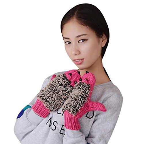 Hot Sale !!! Women's Winter Gloves,Jushye Christmas Autumn Winter Gloves Women Mittens Cartoon Knitted Hedgehog Glove (Hot pink)