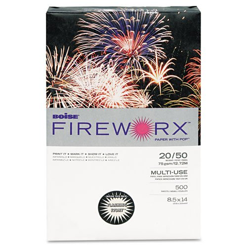 Ivory Colored Paper (Boise Fireworx Premium Multi-Use Colored Paper, 8 1/2 x 14 inches, Legal, Flashing Ivory, 20 Pound, 500 Sheets)