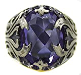 Falcon Jewelry Sterling Silver Men Ring Handmade, Glass Amethyst Stone, Express Shipping