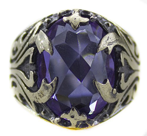 Sterling silver men ring handmade, amethyst stone, Express Shipping