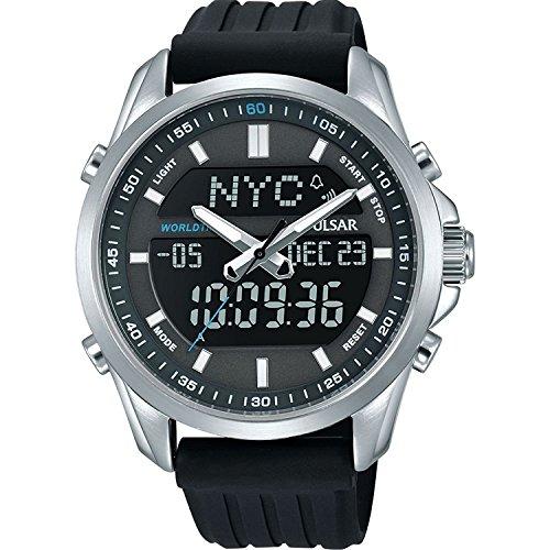 PZ4023X1 Pulsar Men's Digital Analogue 100m Water Resistant Black Polyurethane Strap Watch