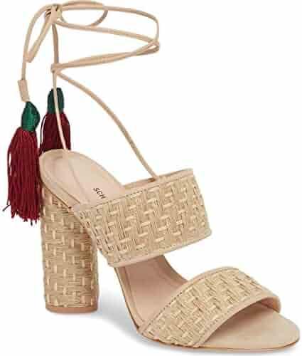 4648fb48dc04 SCHUTZ Women s Gaby Heeled Sandal Natural Amber Light Basket Weave Tie up  Pump