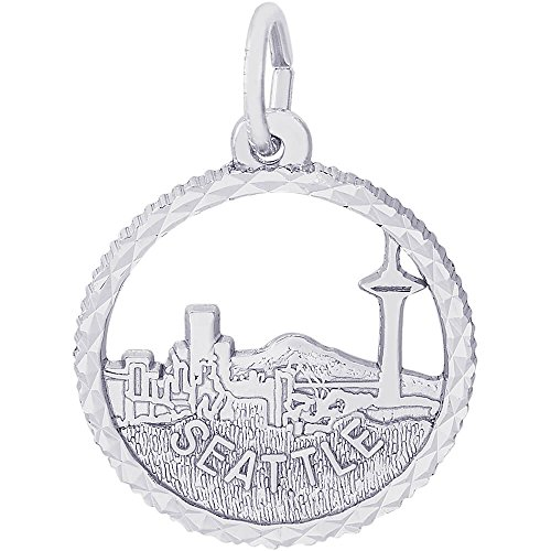 Rembrandt Charms Sterling Silver Seattle Skyline Charm (17.5 x 17.5 mm)