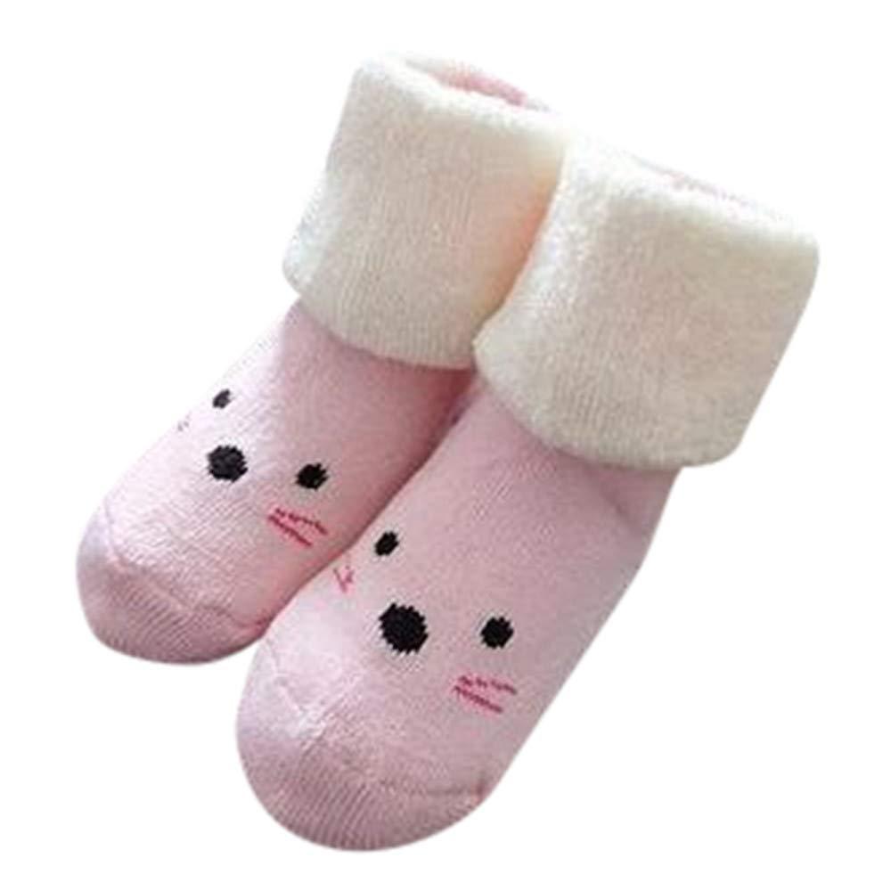 Inkach Newborn Baby Girls Boys Anti-Slip Socks Slipper Winter Warm Knitted Non-Slip Booties Shoes Christmas Gift (Age:1~3 Years Old, F)