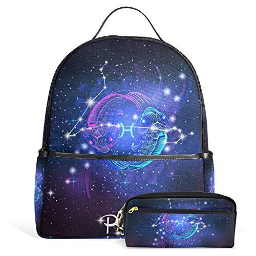 Constellation Zodiac Sign Pisces Unisex Rucksack Canvas Satchel Casual Daypack,School College Student Backpack with Pencil Case