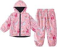 LZH Boys Girls Raincoat, Waterproof Hooded Jacket Coat Trousers Suit 2PCS Sets