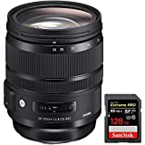 Sigma 24-70mm F2.8 DG OS HSM Art Lens for Canon Mount (576-954) + Sandisk Extreme PRO SDXC 128GB Memory Card