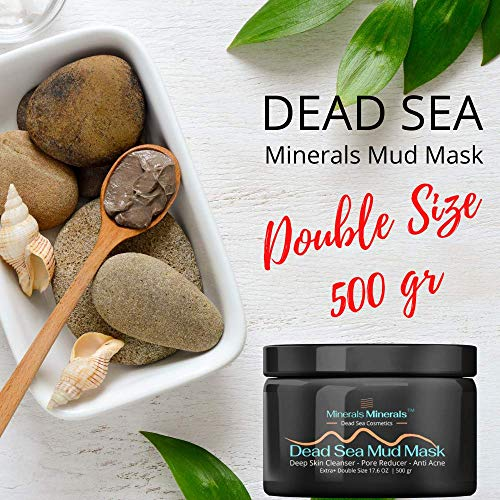 Dead Sea Mud Mask Gives 100% Smooth Skin for Face and Body Reduces Blackheads, Pores, Anti Acne, Oily Skin Natural Deep Skin Cleanser, Double Size 500 gr